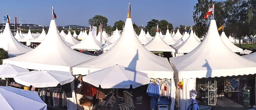 Pagoda tent for exhibition stands