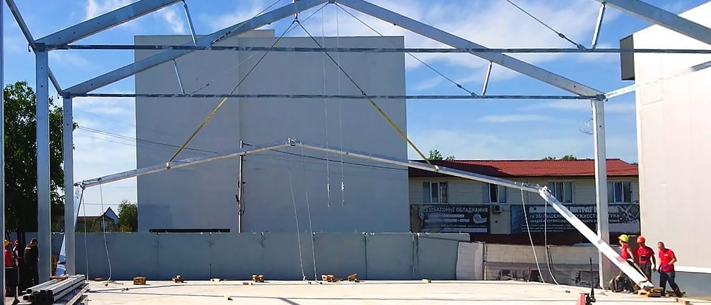 Подъем арки модуля временного склада
